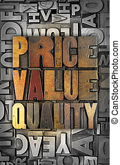 Price Value Quality - The words PRICE VALUE QUALITY written...