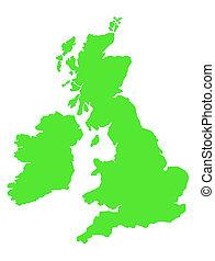 United Kingdom map isolated on white background.