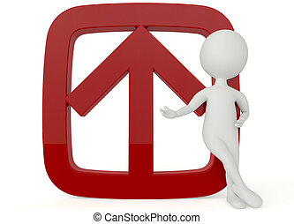 3d humanoid character with a red up sign on white