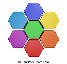 Business Hexagon Chart Diagram - Business project management...