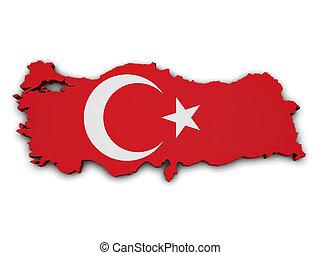 Turkey Flag Map Shape