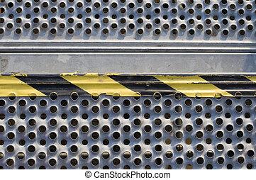 Grunge metal Plate pattern and yellowblack work banner