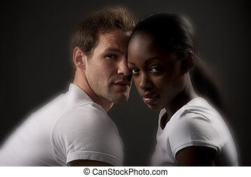 mixed couple - Interracial couple sharing and intimate...