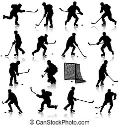 Set of silhouettes of hockey player. Isolated on white....