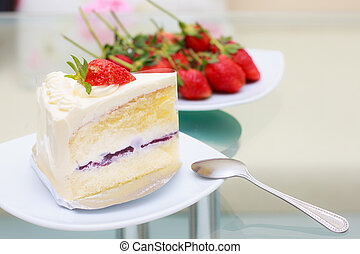milk cake with topping strawberry and strawberry background.