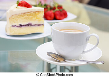 coffee and milk cake with topping strawberry and strawberry...