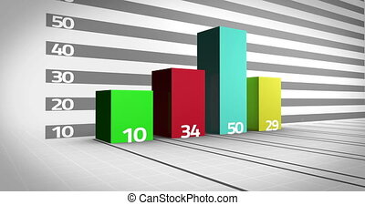 Colourful bar chart growing on white background
