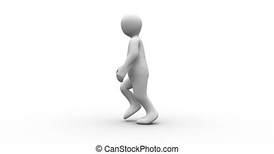 White human figure walking on white background