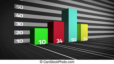 Colourful bar chart growing on black background