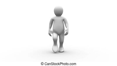 White human character walking on white background