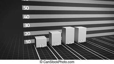 Grey bar chart growing with red arrow on black background