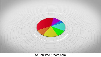 Colourful 3d pie chart on white background
