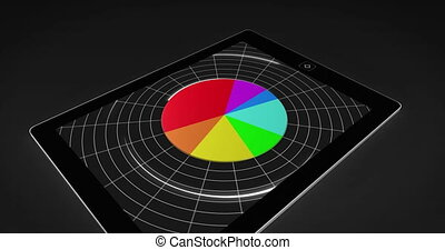 Colourful 3d pie chart on tablet pc on black background