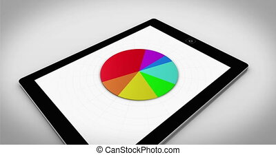 Colourful 3d pie chart on tablet pc on white background