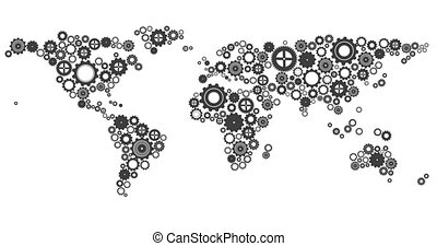 World map made of cogs and wheels on white background