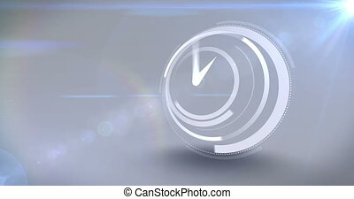 White clock ticking at speed on light background