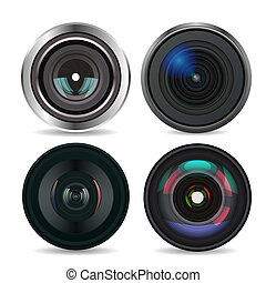 Set of Photo Lens isolated on white background