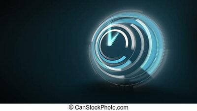 Blue clock ticking very fast on dark background