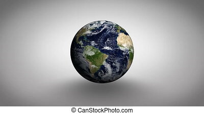 Airplanes flying over spinning earth on white background