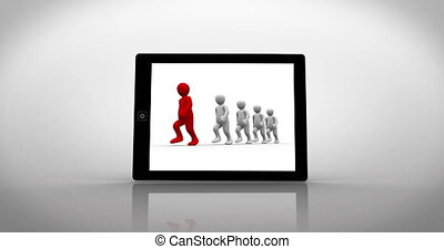 White and red characters walking displayed on tablet pc on...