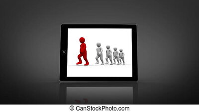 White and red characters walking displayed on digital tablet...
