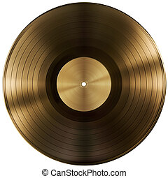 gold or vinyl record disc isolated with clipping path...