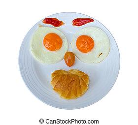 feliz, cara, freír, huevos, desayuno, aislar, blanco,...