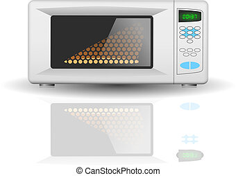 Microwave oven - Vector illustration with Microwave oven for...