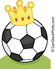 Soccer Ball With Gold Crown On Gras