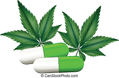 A capsule of marijuana - Illustration of a capsule of...