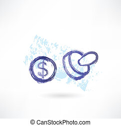 Dollar simbol grunge icon