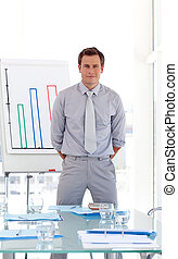 Sales Manager Presenting figures - Confident Sales Manager...