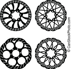 Disk brakes - Vector bike brake disc silhouettes