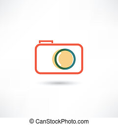 Red camera line icon