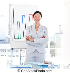Positive Businesswoman at a presentation - Positive Business...