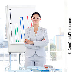 Serious Female sales manager standing before presentation