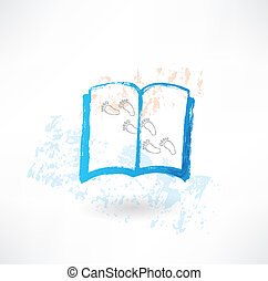 Book and footprints grunge icon