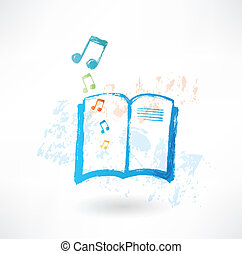 Music book grunge icon