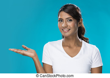 Portrait of happy Indian Woman pointing. - Portrait of happy...