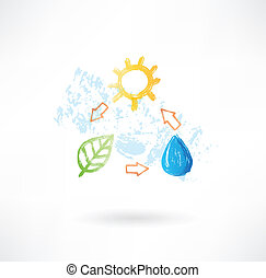 Water cycle grunge icon