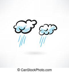 lluvioso, nubes, dos