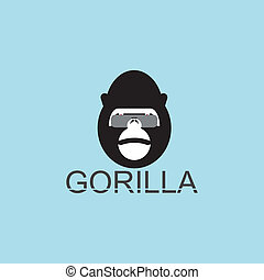 Gorilla in eyeglasses on blue background