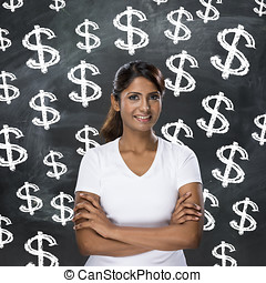 Indian woman in front of dollar sign's written on...