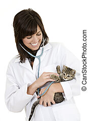 Veterinarian - Beautiful Caucasian woman Veterinarian...