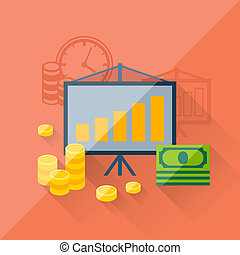 Illustration concept of investments in flat design style.