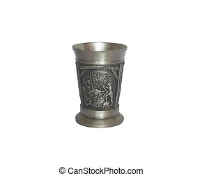 Old antique small pewter germany wine cup wineglass