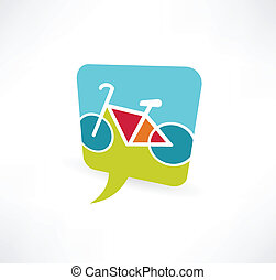 speech bubble icon with a bicycle