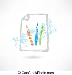 Pencil doc grunge icon