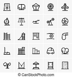 Amusement park icons - Set of Amusement park icons