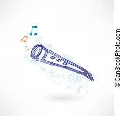 classique, flûte, grunge, icône